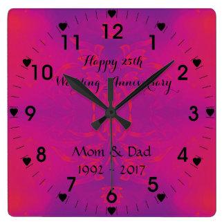 Relógio Quadrado 25o Aniversário de casamento de prata