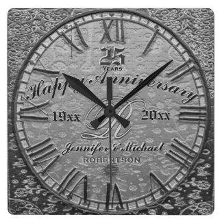 Relógio Quadrado 25o Antiguidade do vintage do aniversário de