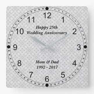 Relógio Quadrado 25o Teste padrão do abstrato do aniversário de