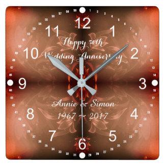 Relógio Quadrado 50th Aniversário de casamento Brown floral