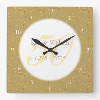 Relógio Quadrado 50th Confetes da poeira de ouro do aniversário de