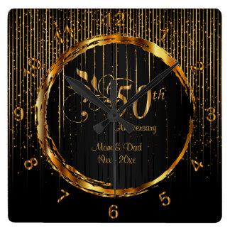 Relógio Quadrado 50th design dourado moderno do aniversário da