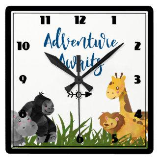 Relógio Quadrado A aventura espera animais da selva do safari