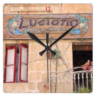 Relógio Quadrado A pizza de Luciano