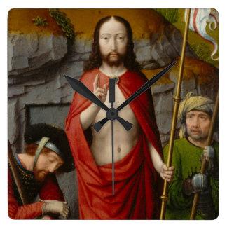 Relógio Quadrado A ressurreição, com os peregrinos de Emmaus