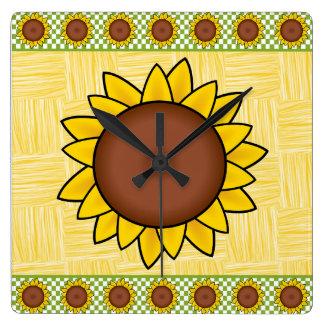 Relógio Quadrado Amarelo e girassol de Brown pulso de disparo