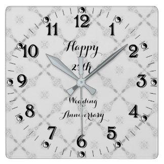 Relógio Quadrado Aniversário de casamento de prata de Yin Yang 25o