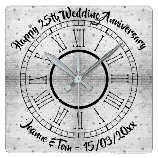 Relógio Quadrado Aniversário de casamento de prata Textured cinzas
