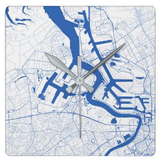 Relógio Quadrado Antwerpen Urban Pattern Clock BLUE