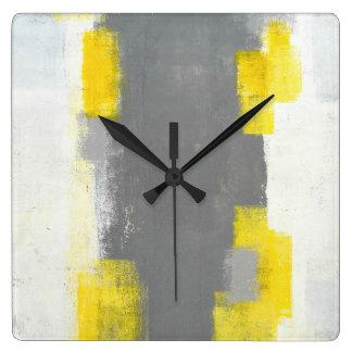 """Relógio Quadrado Arte abstracta cinzenta e amarela do """"disparador"""""""
