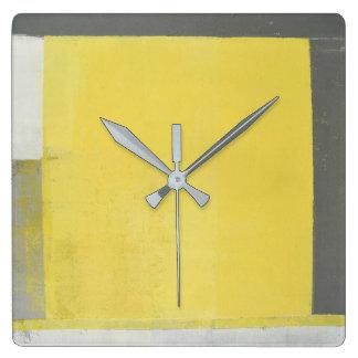 """Relógio Quadrado Arte abstracta cinzenta e amarela do """"dobro"""""""