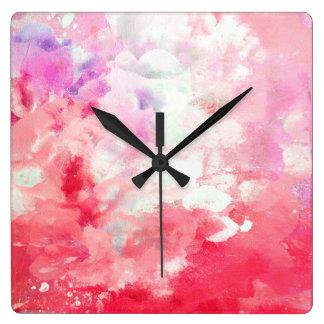"Relógio Quadrado Arte abstracta coral dos ""Tannins"""