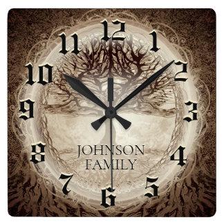 Relógio Quadrado Árvore genealógica do casamento ou do aniversário
