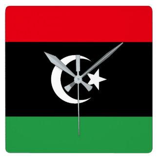 Relógio Quadrado Bandeira de Líbia