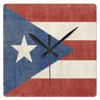 Relógio Quadrado Bandeira de Porto Rico