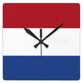Relógio Quadrado Bandeira dos Países Baixos