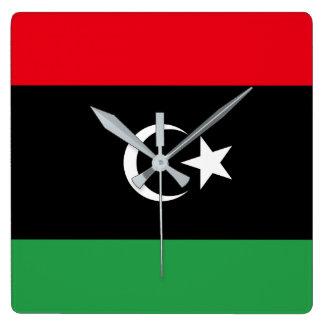 Relógio Quadrado Bandeira nacional do mundo de Líbia