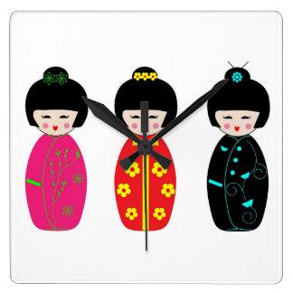 Relógio Quadrado Bonecas tradicionais da gueixa de Kokeshi do