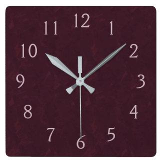 Relógio Quadrado Borgonha e rosa
