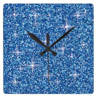 Relógio Quadrado Brilho iridescente azul