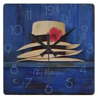 Relógio Quadrado Chapéus de Panamá personalizados