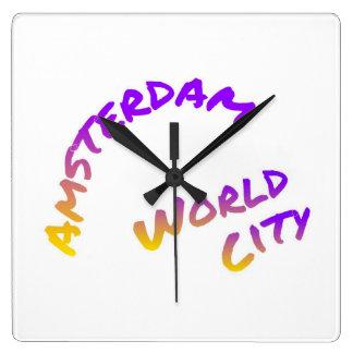 Relógio Quadrado Cidade do mundo de Amsterdão, arte colorida do