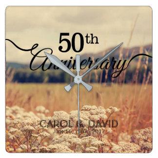 Relógio Quadrado Comemorando o 50th aniversário