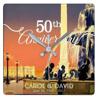 Relógio Quadrado Comemorando o 50th aniversário. Vintage Paris
