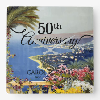 Relógio Quadrado Comemorando o 50th aniversário. Vintage San Remo.