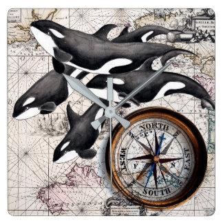 Relógio Quadrado Compasso náutico da orca