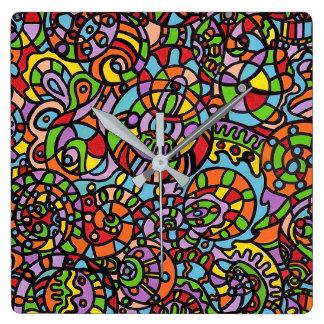 Relógio Quadrado Curvas e esferas