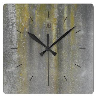 Relógio Quadrado Decoração industrial MANCHADA AMARELO do METAL |