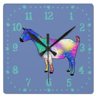 Relógio Quadrado Design animal colorido da cabra azul da arte