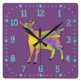 Relógio Quadrado Design animal da arte da cabra artística engraçada