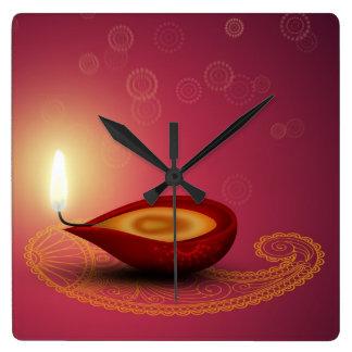 Relógio Quadrado Diwali feliz brilhante Diya - pulso de disparo de