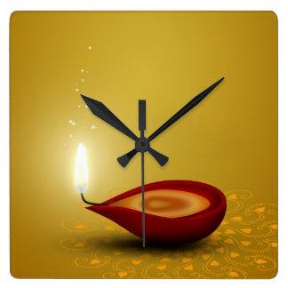 Relógio Quadrado Diwali feliz Diya - pulso de disparo de parede