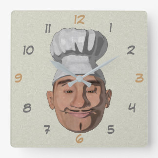 Relógio Quadrado Estilo dos desenhos animados do restaurante do
