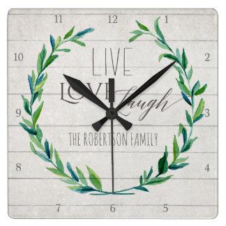 Relógio Quadrado Família rústica de madeira da grinalda da folha de