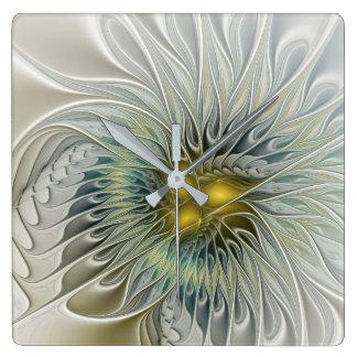 Relógio Quadrado Fantasia dourada da flor, arte abstrata do Fractal