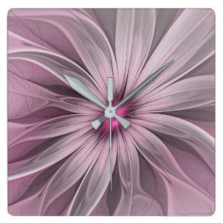 Relógio Quadrado Flor cor-de-rosa que espera uma arte do Fractal do
