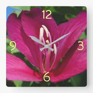 Relógio Quadrado Flor da árvore de orquídea