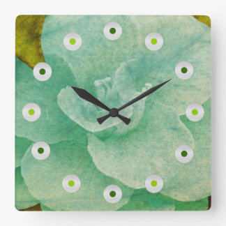 Relógio Quadrado Flor Textured por Shirley Taylor