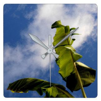 Relógio Quadrado Folhas da árvore de banana