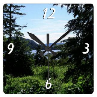 Relógio Quadrado Fotografia bonita de Alaska da paisagem do Alasca