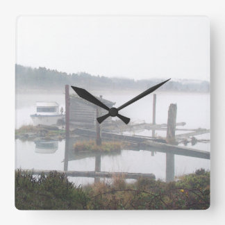 Relógio Quadrado Fotografia cénico da floresta enevoada de Oregon