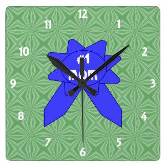 Relógio Quadrado Fundo Textured variável da mamã da fita azul #1