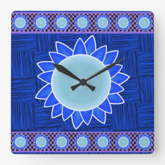 Relógio Quadrado Girassol azul no pulso de disparo tecido e