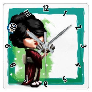 Relógio Quadrado Gueixa de Kawaii