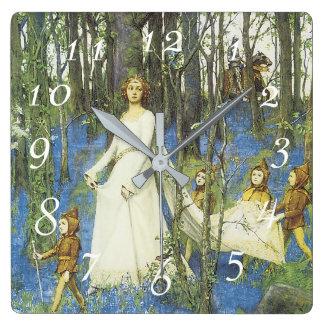 Relógio Quadrado Guinevere e conto de fadas do senhor Lancelot