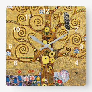 "Relógio Quadrado Gustav Klimt , "" Tree of life """